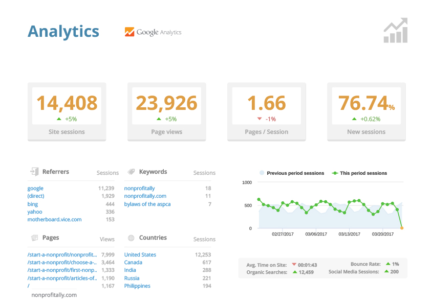 Web hosting with analytic reports