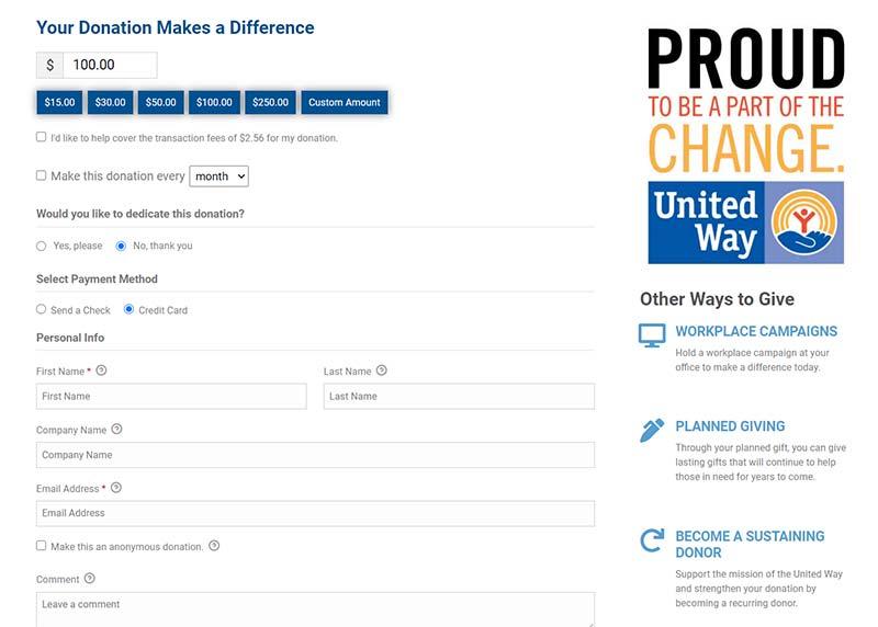 nonprofit donation form
